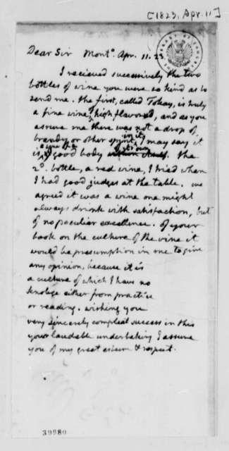 Thomas Jefferson to John Adlum, April 11, 1823