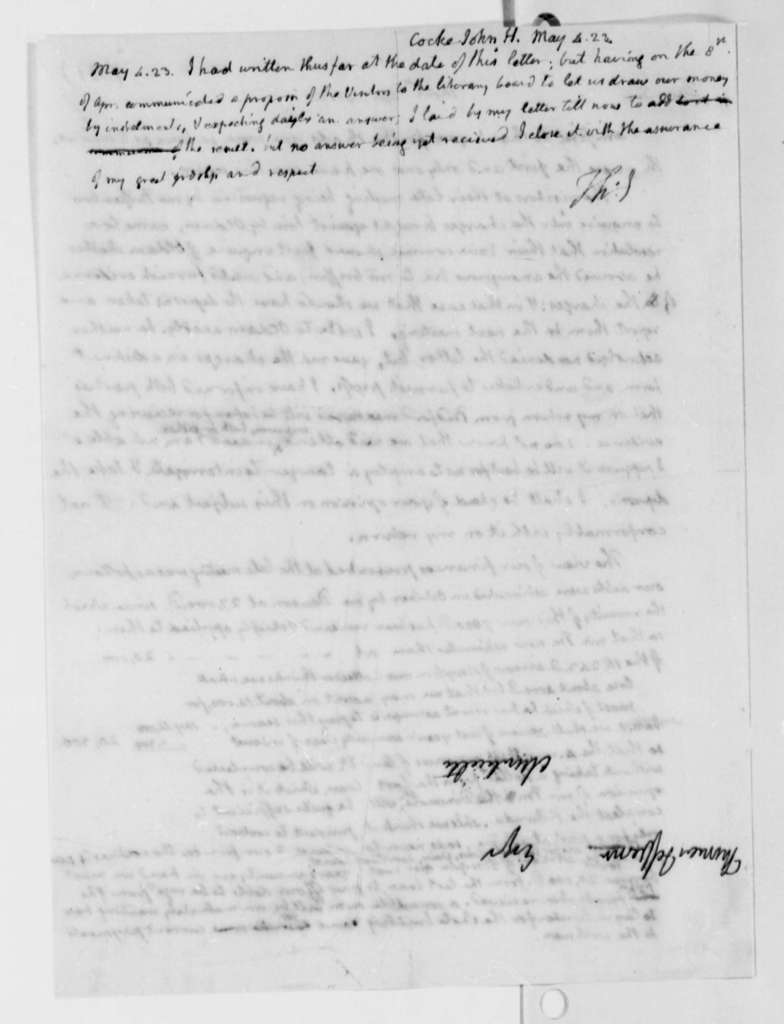 Thomas Jefferson to John Hartwell Cocke, April 22, 1823, with Postscript Dated May 4