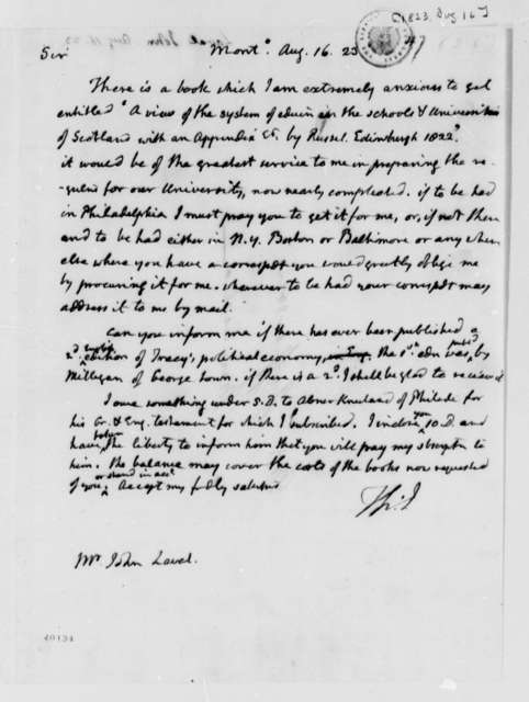 Thomas Jefferson to John Laval, August 16, 1823