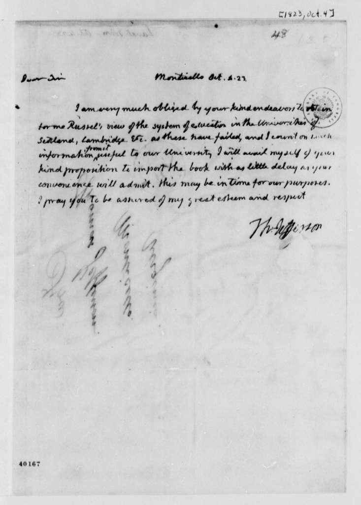 Thomas Jefferson to John Laval, October 4, 1823