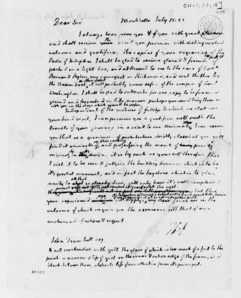 Thomas Jefferson to John Trumbull, July 15, 1823