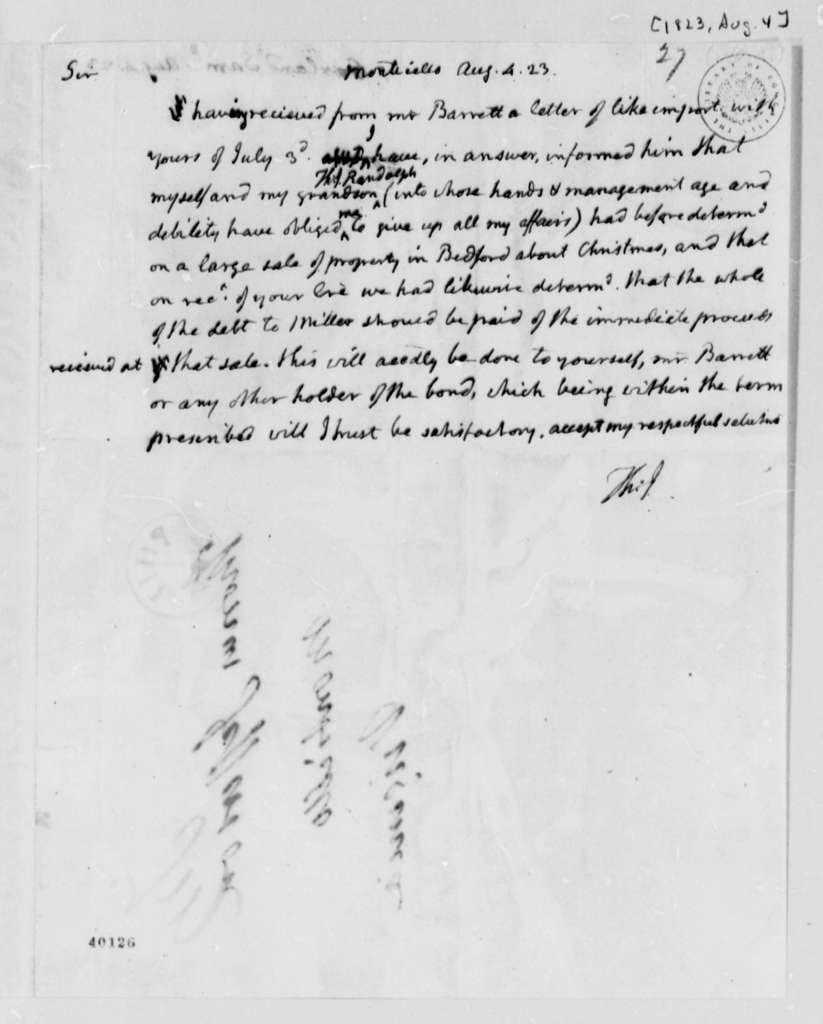 Thomas Jefferson to Samuel Garland, August 4, 1823