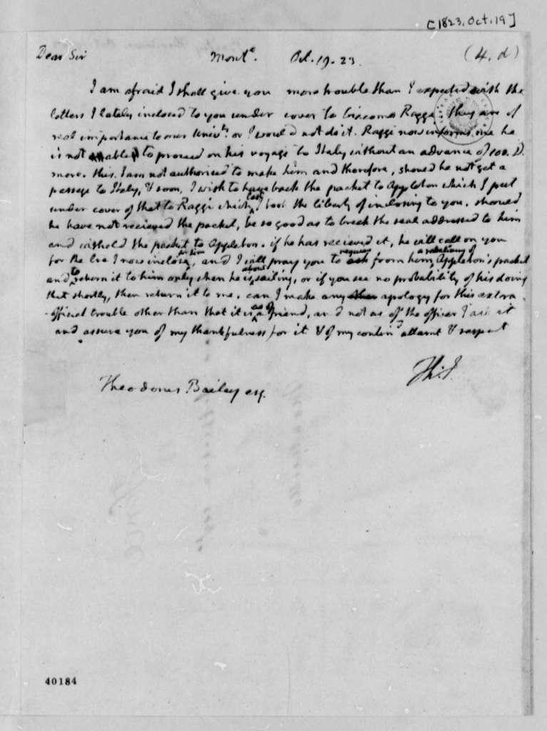 Thomas Jefferson to Theodorus Bailey, October 19, 1823