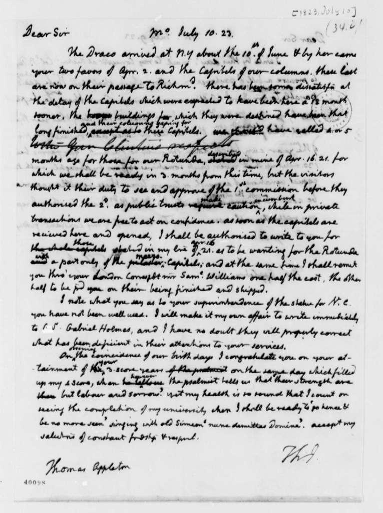 Thomas Jefferson to Thomas Appleton, July 10, 1823