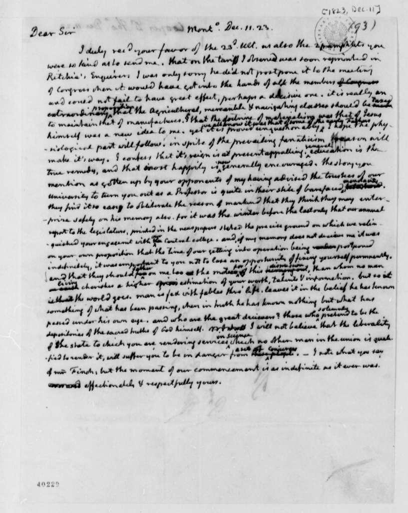 Thomas Jefferson to Thomas Cooper, December 11, 1823