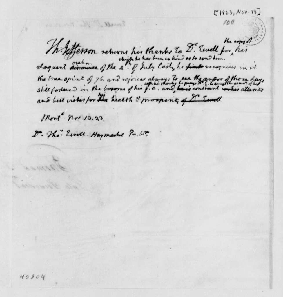 Thomas Jefferson to Thomas Ewell, November 13, 1823
