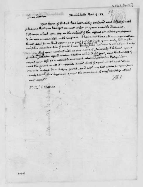 Thomas Jefferson to Thomas G. Watkins, November 9, 1823