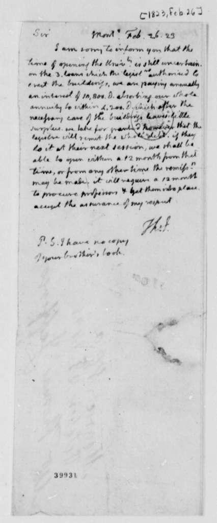 Thomas Jefferson to Thomas Magruder, February 26, 1823