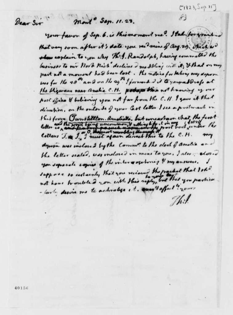 Thomas Jefferson to William B. Giles, September 11, 1823