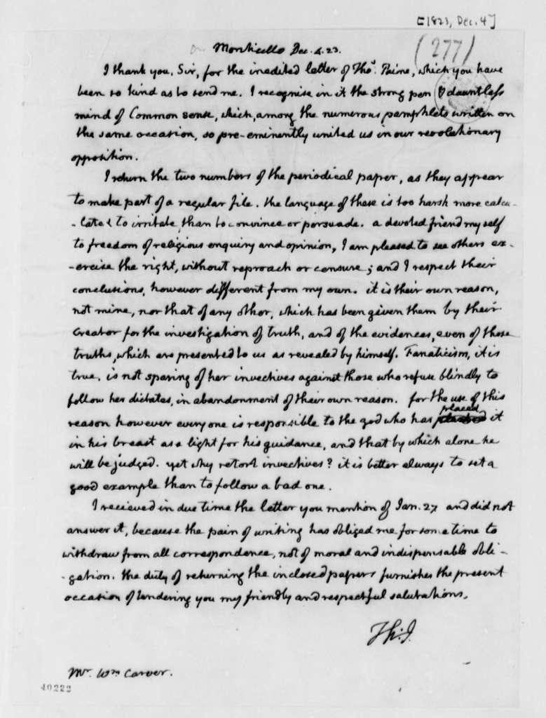 Thomas Jefferson to William Carver, December 4, 1823