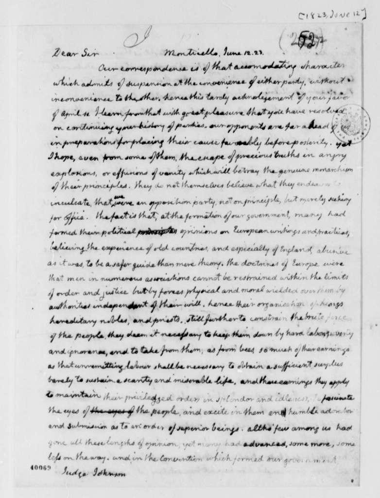 Thomas Jefferson to William Johnson, June 12, 1823
