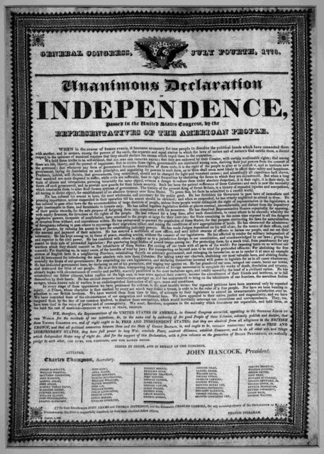 Unanimous Declaration of Independence, passed in the United States Congress, by the representatives of the American people. [United States : s.n., 1823]