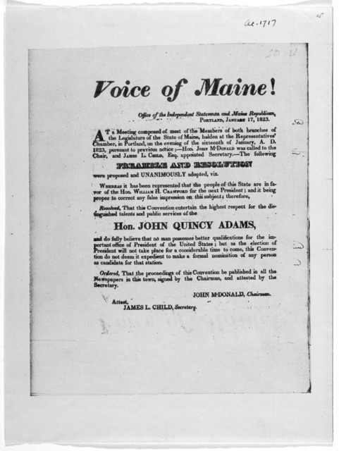 Voice of Maine! Office of the Independent statesman and Maine Republican ... At a meeting composed of most of the members of both branches of the Legislature of the State of Maine, holden at the Representatives' Chamber, in Portland, on the even