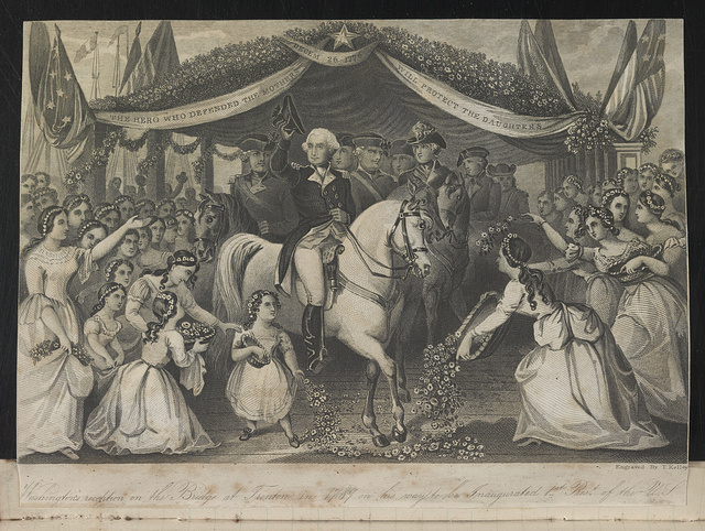 Washington's reception on the bridge at Trenton in 1789 on his way to be inaugurated 1st pres[iden]t of the U.S. / Engraved by T. Kelley.