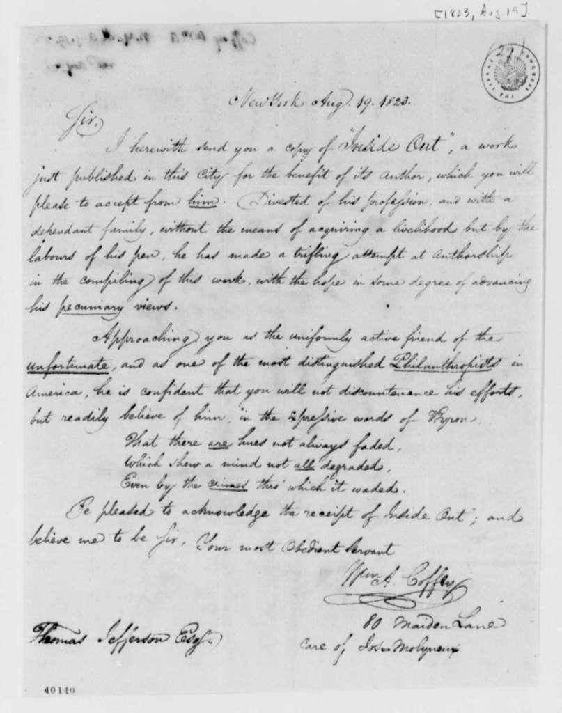 William A. Coffey to Thomas Jefferson, August 19, 1823