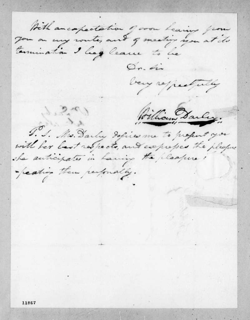 William Darby to Andrew Jackson, October 18, 1823