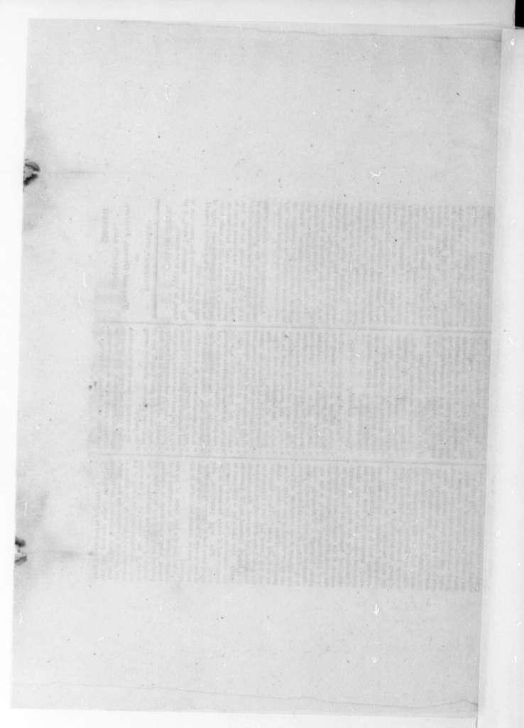 William Eustis to James Madison, June 6, 1823. Includes printed copy of William Eustis speech. Fragment.