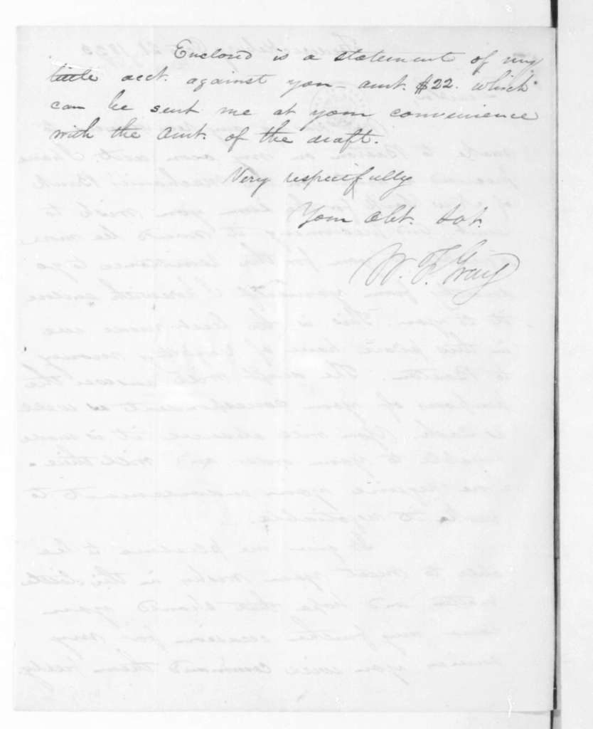 William F. Gray to James Madison, October 21, 1823. With Account.