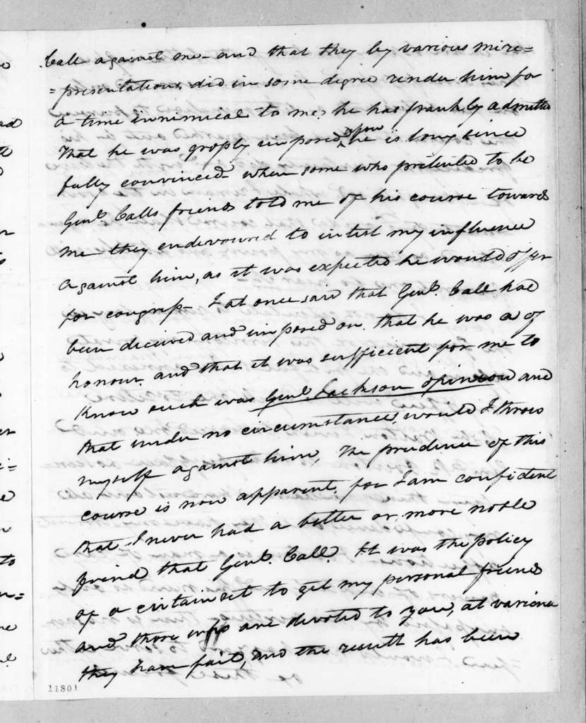 William Pope Duval to Andrew Jackson, August 26, 1823