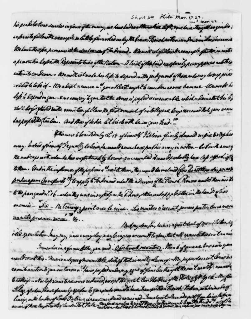 William Short to Thomas Jefferson, March 17, 1823
