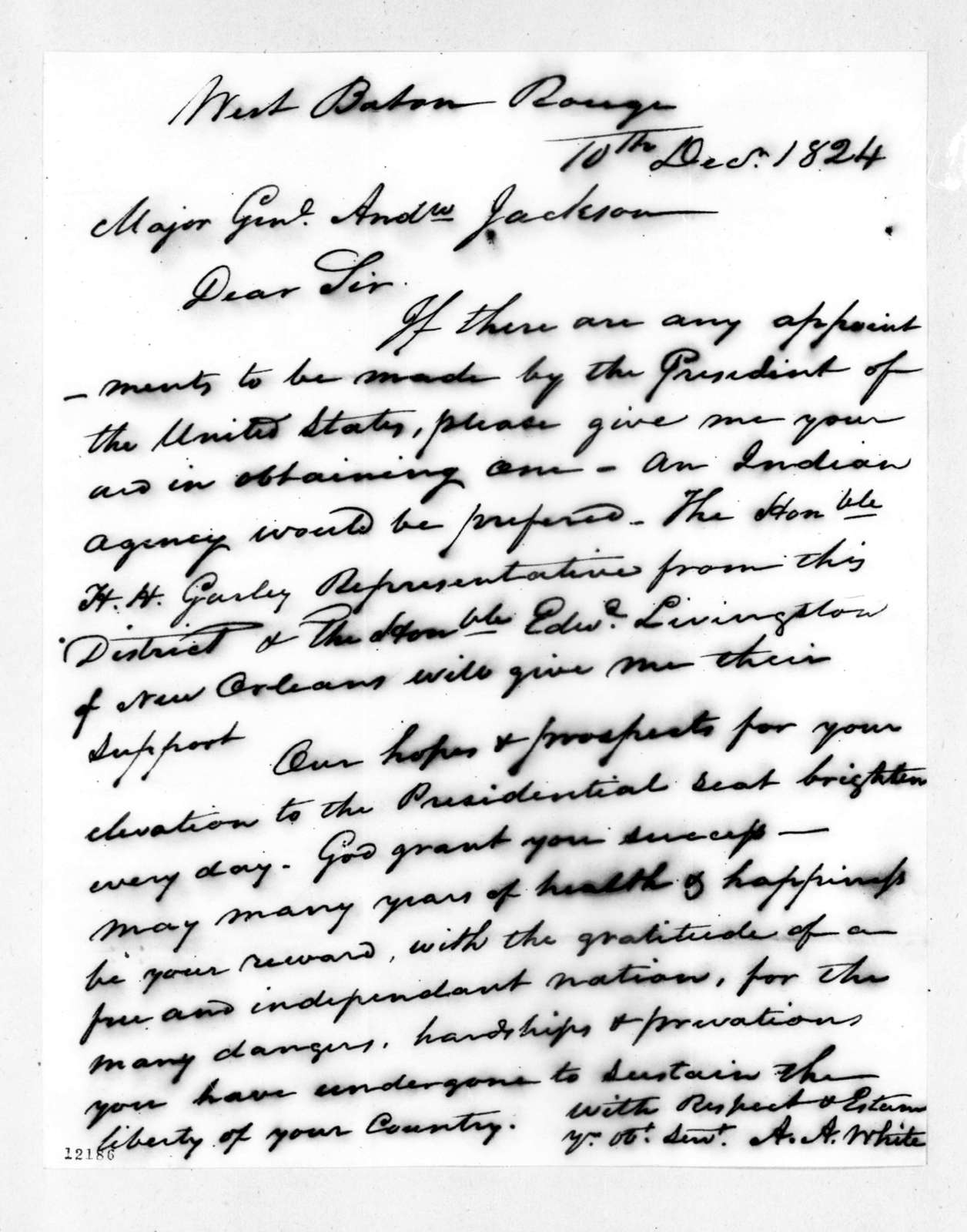 Alexander A. White to Andrew Jackson, December 10, 1824