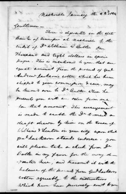 Andrew Jackson Donelson to Bedford & Mackey, January 23, 1824