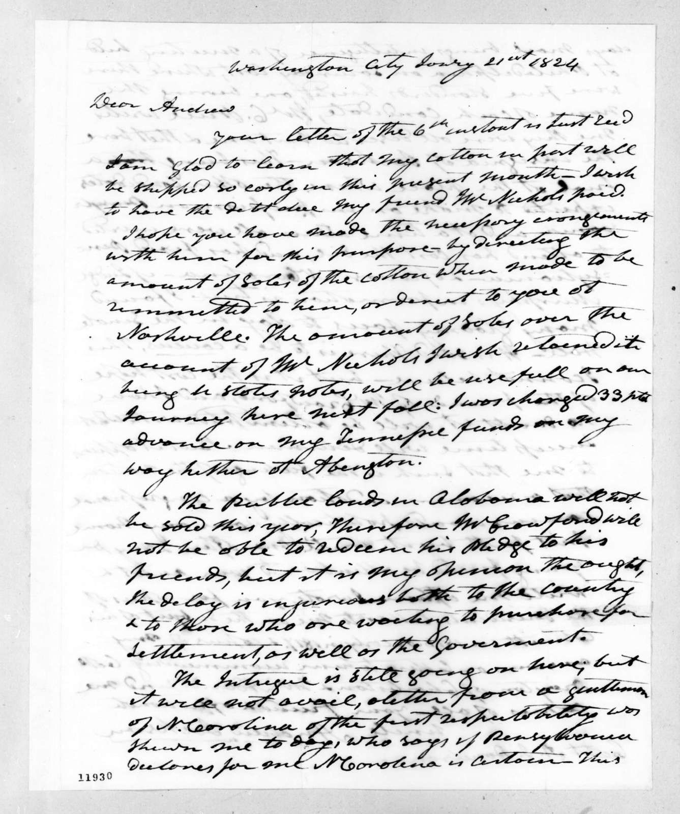 Andrew Jackson to Andrew Jackson Donelson, January 21, 1824
