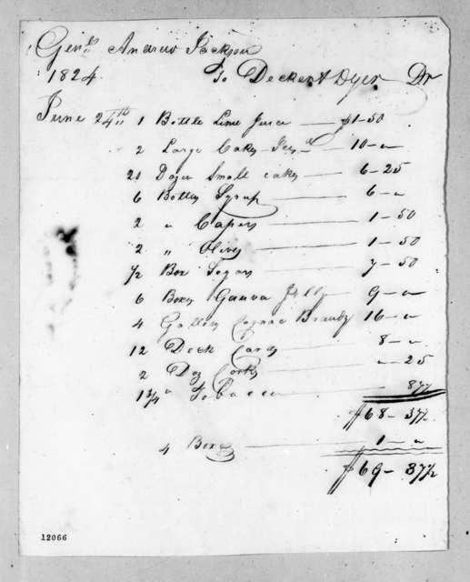 Andrew Jackson to Decker & Dyer, June 24, 1824