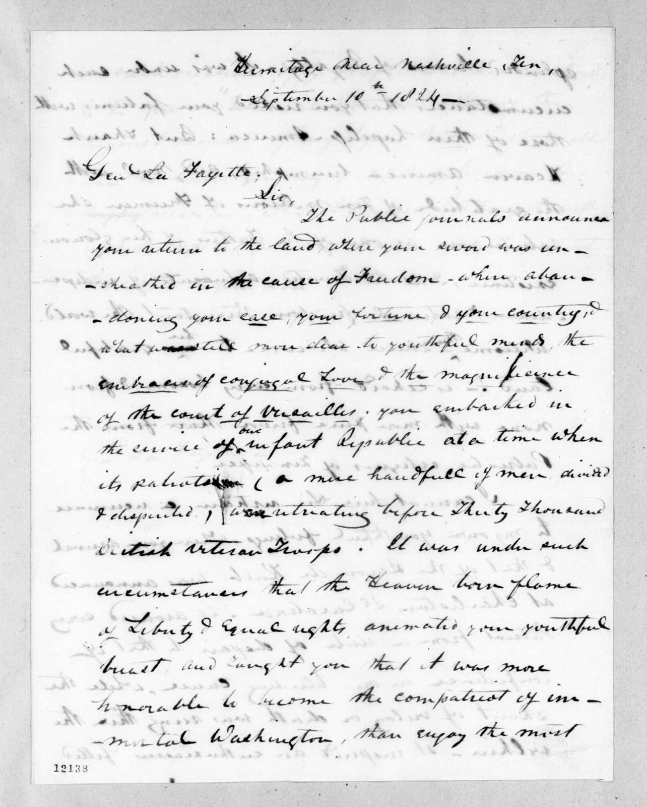 Andrew Jackson to Marie Joseph Paul Yves Roch Gilbert Du Motier, marquis de Lafayette, September 10, 1824