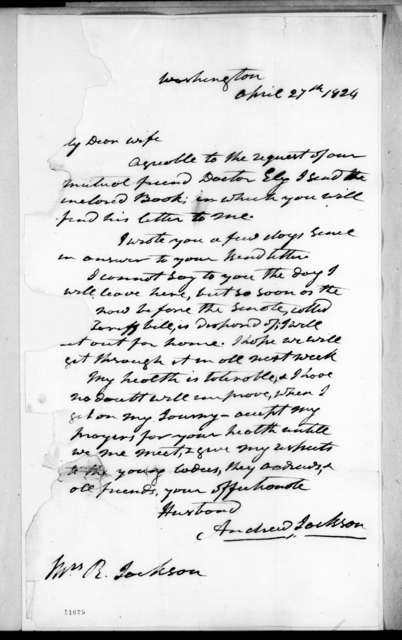 Andrew Jackson to Rachel Donelson Jackson, April 27, 1824