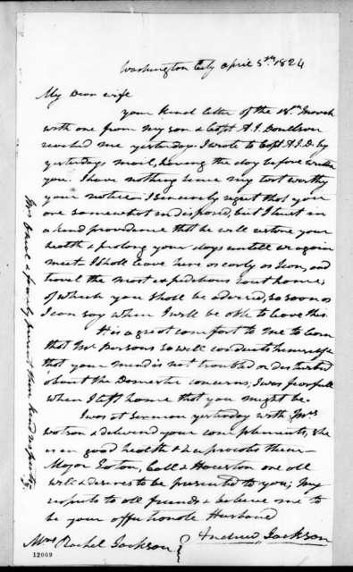 Andrew Jackson to Rachel Donelson Jackson, April 5, 1824