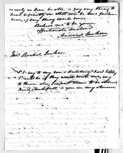 Andrew Jackson to Rachel Donelson Jackson, January 5, 1824