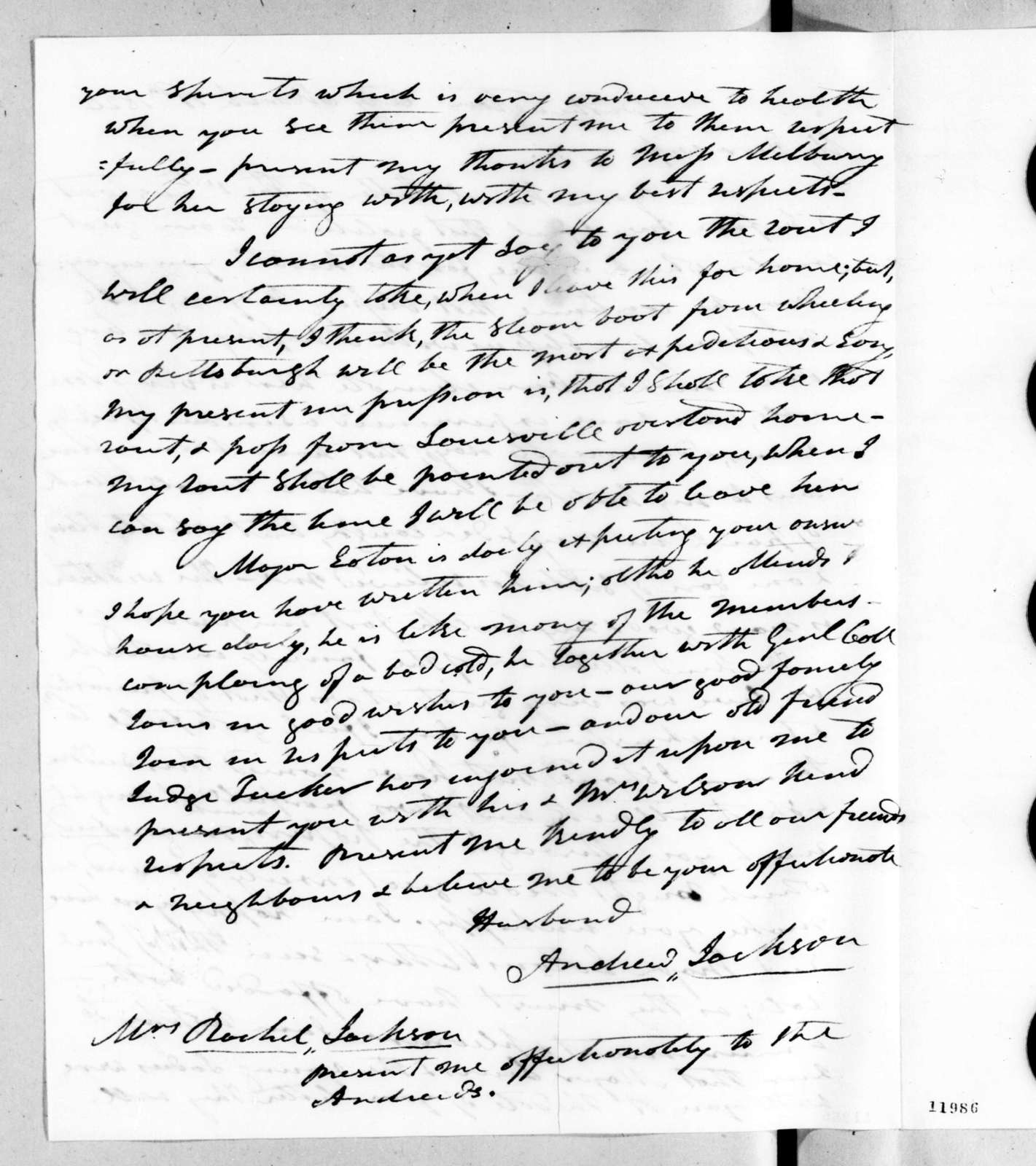 Andrew Jackson to Rachel Donelson Jackson, March 19, 1824