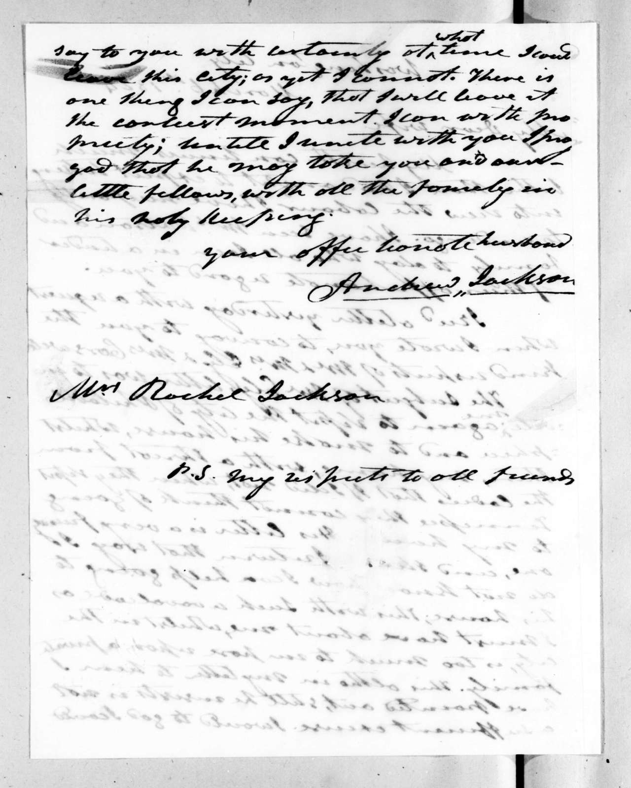 Andrew Jackson to Rachel Donelson Jackson, March 6, 1824