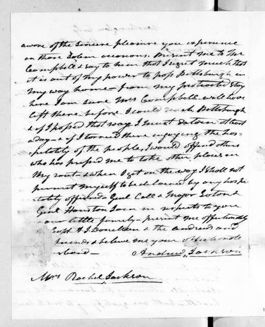 Andrew Jackson to Rachel Donelson Jackson, May 13, 1824
