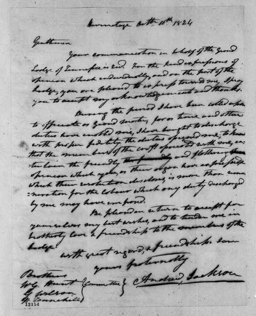 Andrew Jackson to William Gibbes Hunt, October 10, 1824