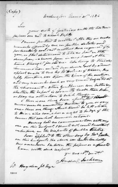 Andrew Jackson to William Hayden, Jr., March 30, 1824