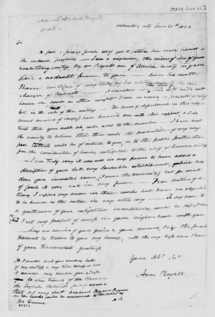 Anne Royall to Thomas Jefferson, June 20, 1824