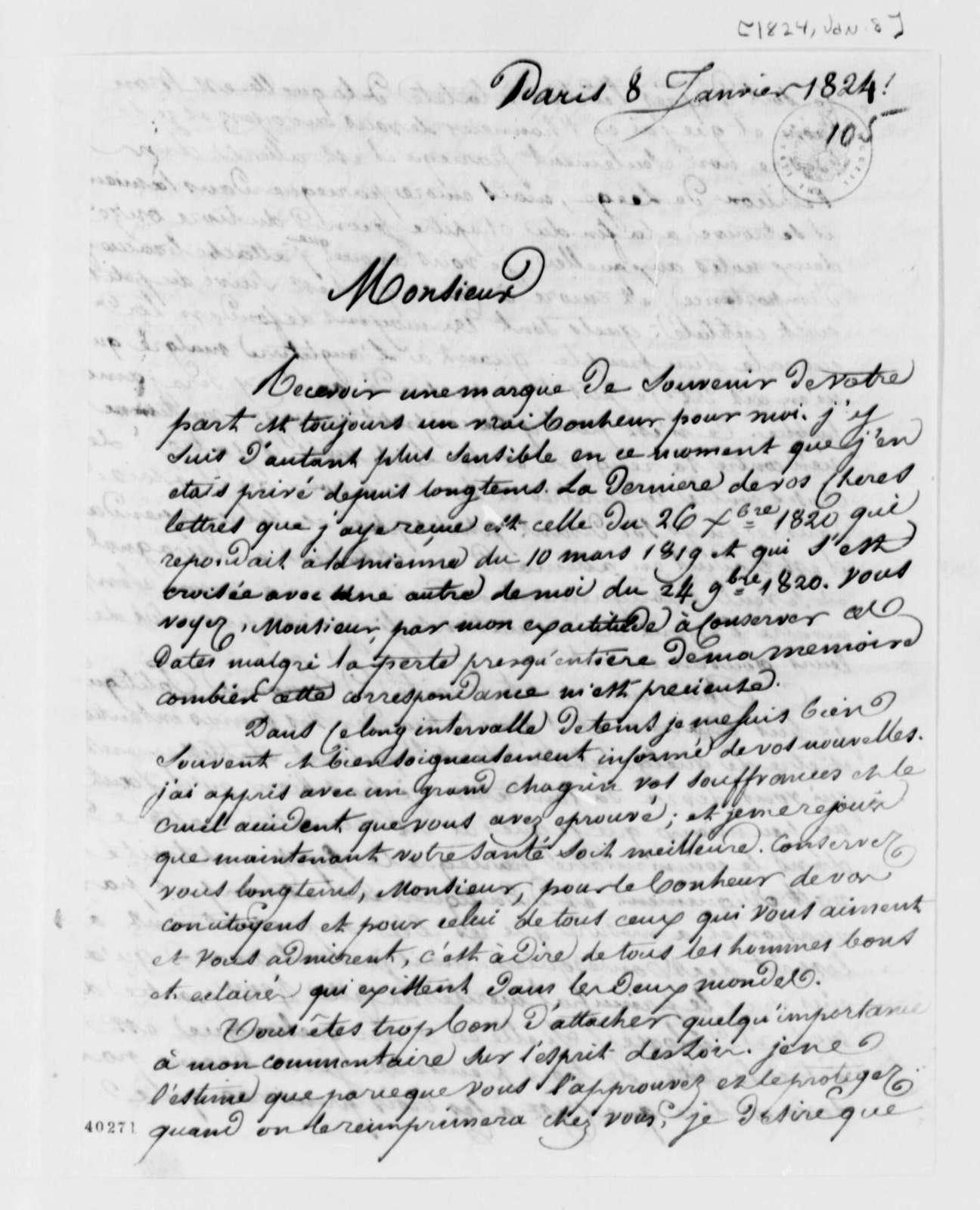 Antoine Louis Claude Destutt de Tracy to Thomas Jefferson, January 8, 1824