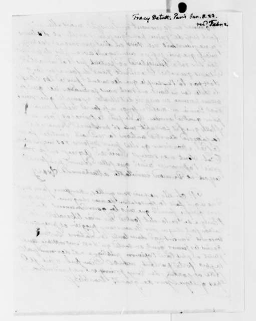 Antoine Louis Claude Destutt de Tracy to Thomas Jefferson, January 8, 1824