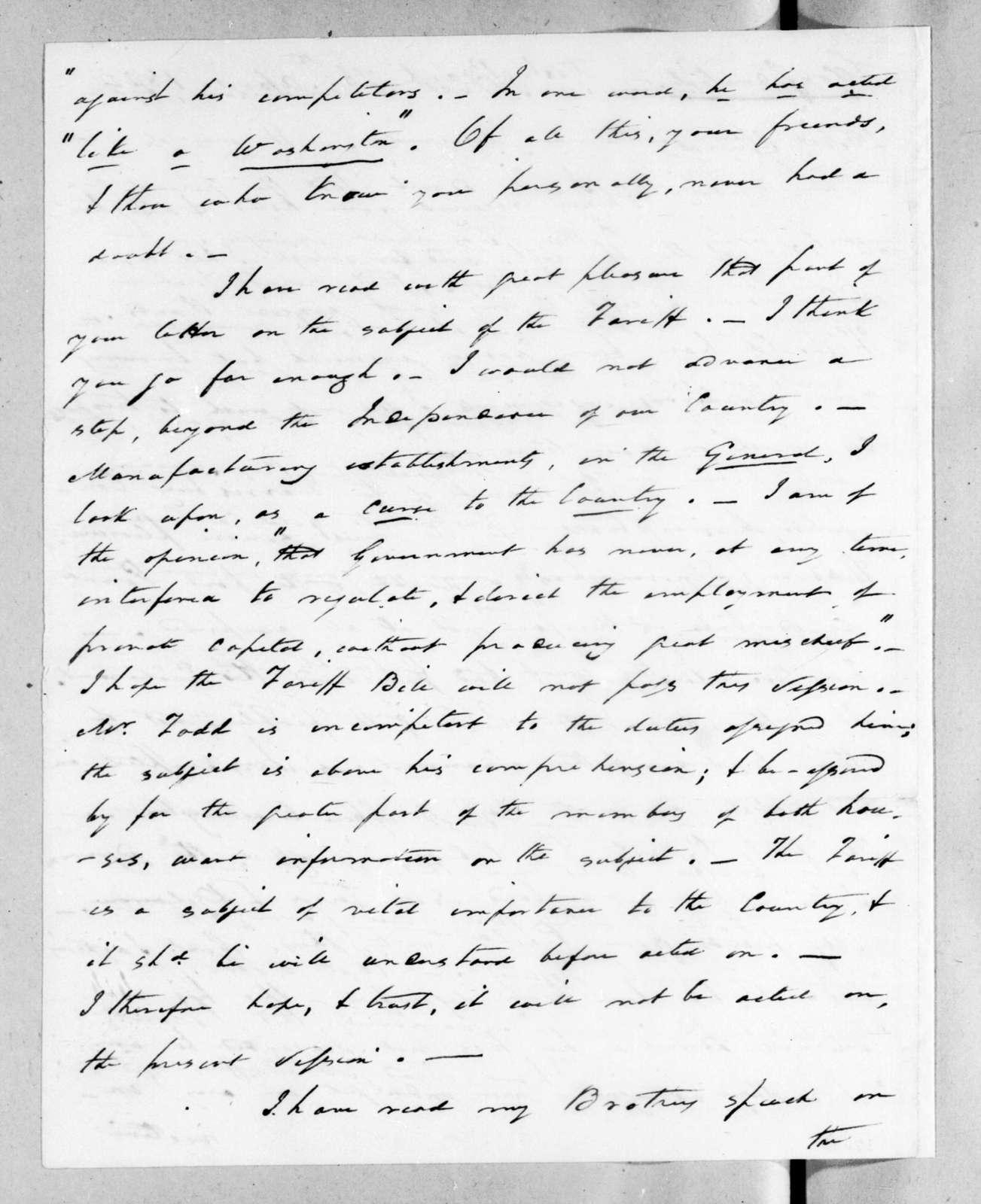 Arthur Peronneau Hayne to Andrew Jackson, April 16, 1824