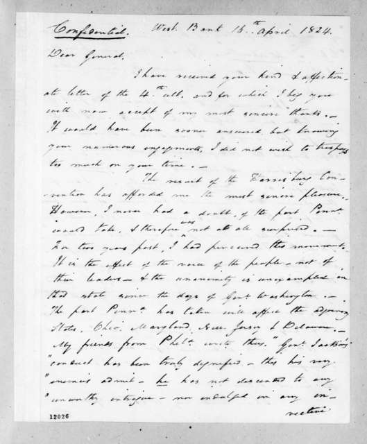 Arthur Peronneau Hayne to Andrew Jackson, April 16, 1824