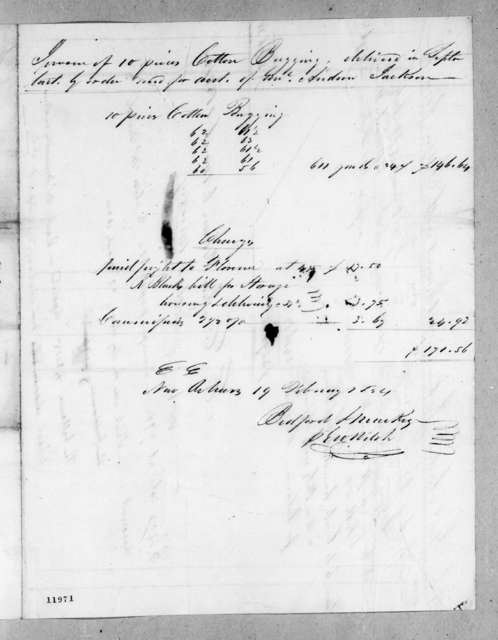 Bedford & Mackey to Andrew Jackson Donelson, March 6, 1824
