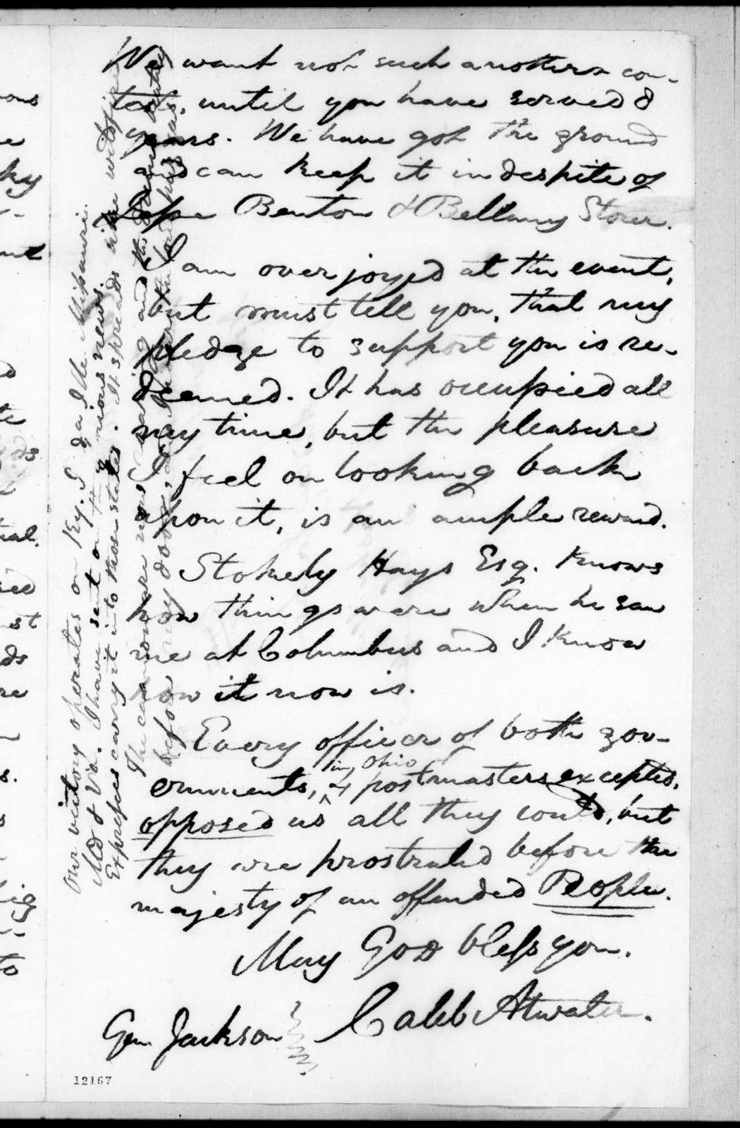 Caleb Atwater to Andrew Jackson, November 1, 1824