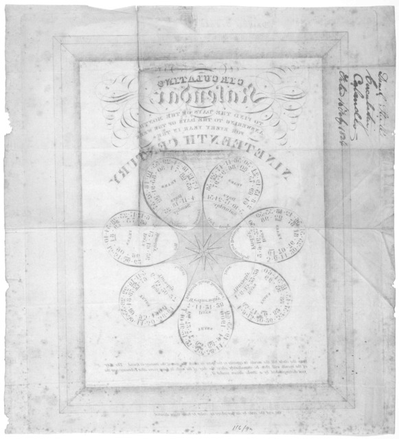 Circulating kalendar to find the days of the month answering to the days of the week for every year in the nineteenth century. [n. p. 1824].