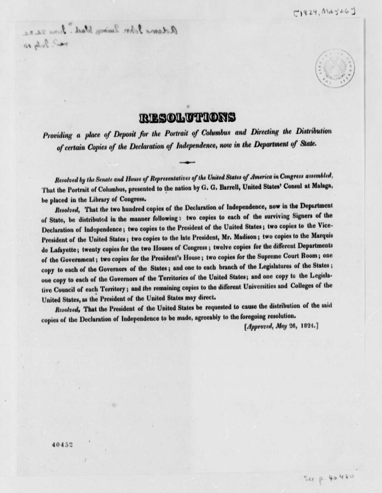Congress, June 26, 1824, Printed Resolution for the Portrait of Columbus and Distribution of the Declaration of Independence