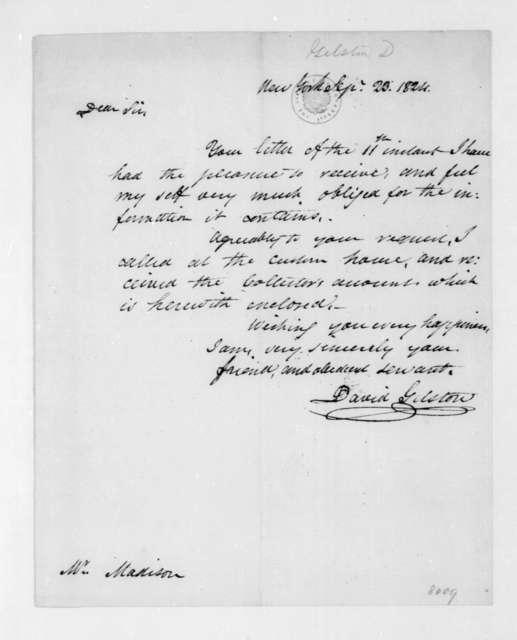 David Gelston to James Madison, September 23, 1824.