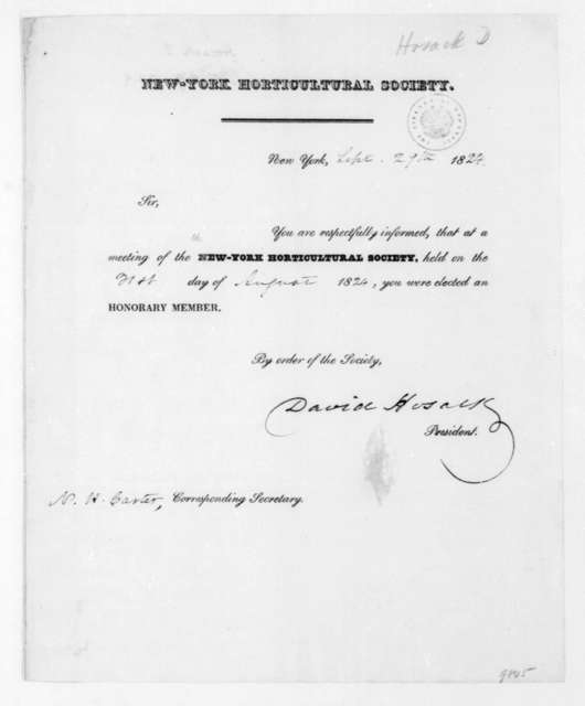 David Hosack to James Madison, September 29, 1824. Membership certificate for the New York Horticultural Society.