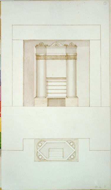 [Design drawing for a fireplace stove. Front and top]