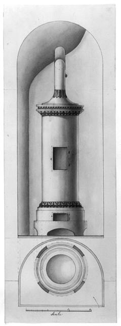 Design drawing for a stove. Elevation and plan